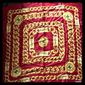 Paris CHANEL vintage gold and red scarf